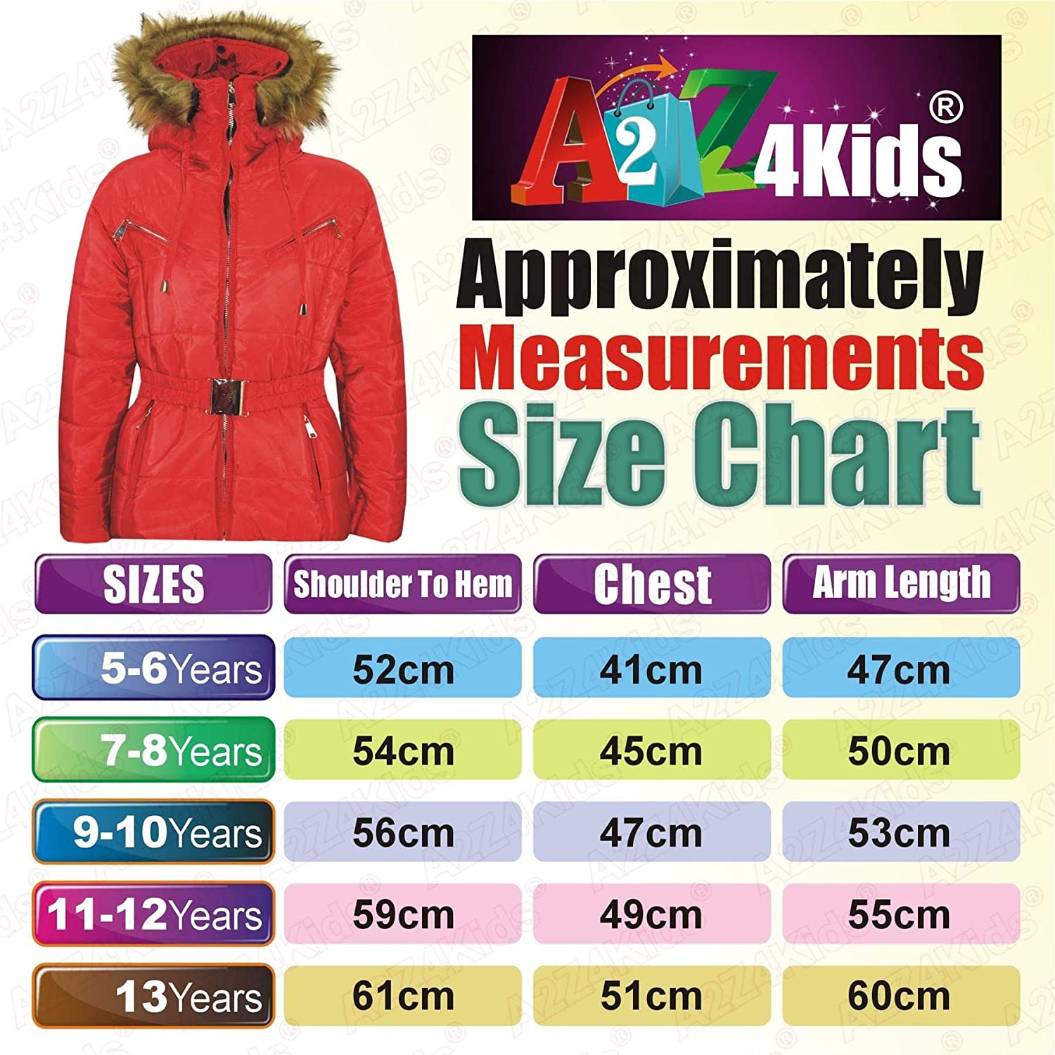 A2Z 4 Kids Kids Girls Jackets Puffer Hooded Stylish Detachable Faux Fur Padded Zipped Belted Slim Fit Warm Coats New Age 5 6 7 8 9 10 11 12 13 Years