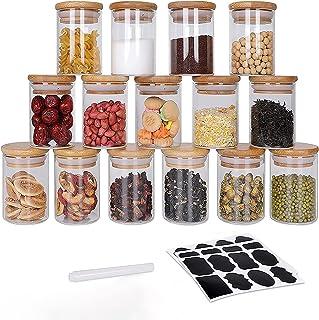 GoMaihe Voorraadpotten set van 15, Voorraaddozen Kruidenpotjes Luchtdichte Glazen Container Gemaakt van Glazen Pot met Dek...