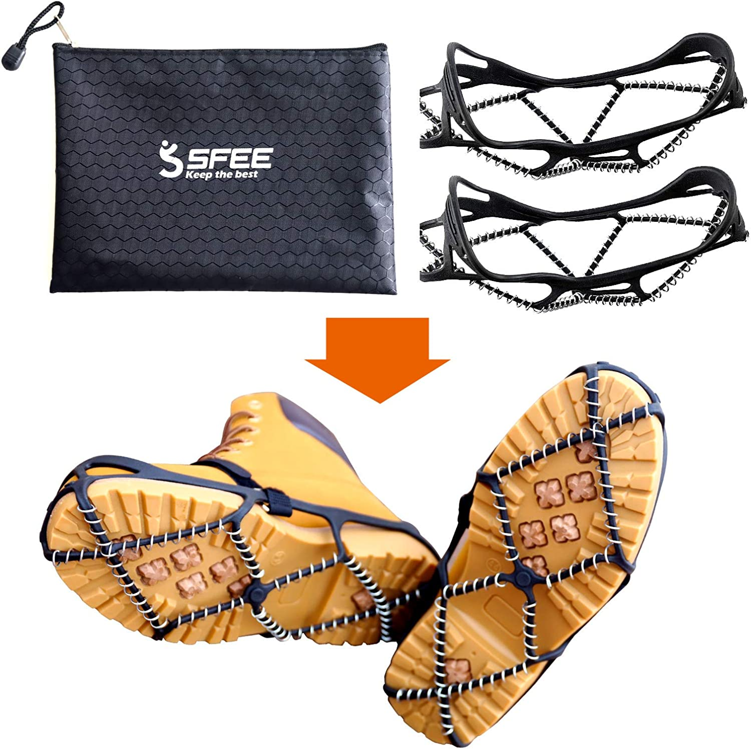 Sfee Ice Cleats for Walking on Ice Snow Grips Crampons Traction for Shoes//Boots Anti-Slip Portable Flexible Footwear for Walking Climbing Hiking Fishing Outdoor Running with 2 Velcro Straps