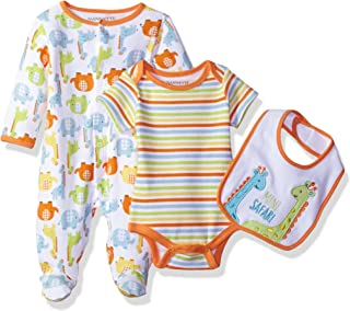 Nannette Baby Boys' 3 Piece Sleeper Creeper and Bib Set