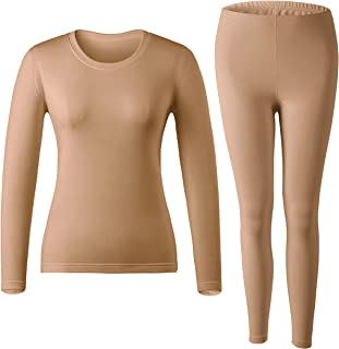 MOLLDAN Women's Long Johns Baselayer Thermal Underwear Tops & Bottom Set with Fleece Lined