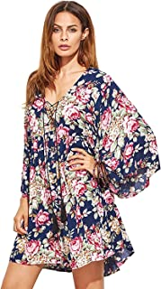 Women's Floral Print Front Cross Deep V-Neck Flare Sleeve Loose Short Mini Dress