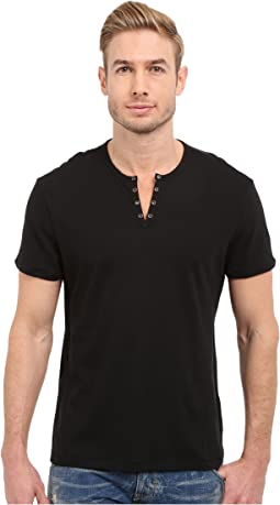 John Varvatos Star U.S.A. - Short Sleeve Eylelet Crew Shirt
