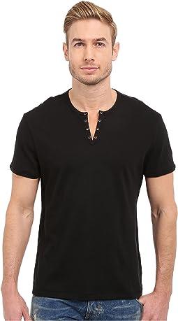 John Varvatos Star U.S.A. - Short Sleeve Eylelet Crew Shirt