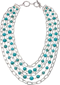 Turquoise Multi Row Necklace 18""
