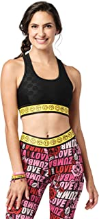 Zumba Athletic Dance Fitness High Impact Workout Active Sports Bra for Women, Bold Black, XX-Large
