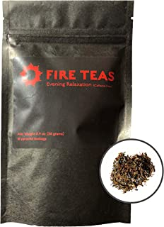 FIRE TEAS - Evening Relaxation - Stress & Anxiety Relief with Peppermint, Rooibos, Lavender, Raspberry Leaf, Ginger, Saffron- Helps Sleep- Caffeine Free Herbal Tea- Each Teabag Brewable 3 Times & can make 1 Full Teapot - Made in Washington.