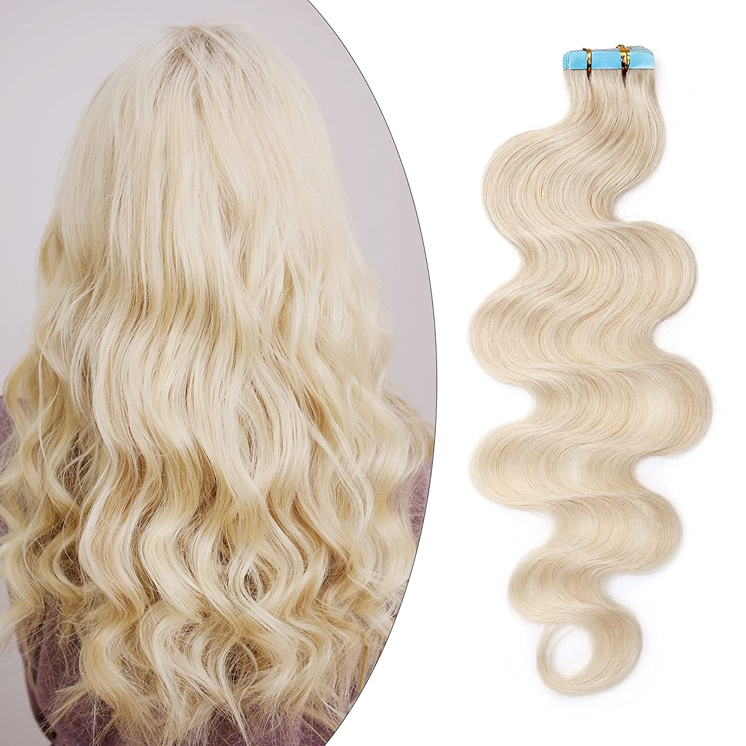 SEGO 22 Inch 67% OFF of fixed price Tape In Hair Blonde-Bod 20pcs 50g White Beauty products Extensions