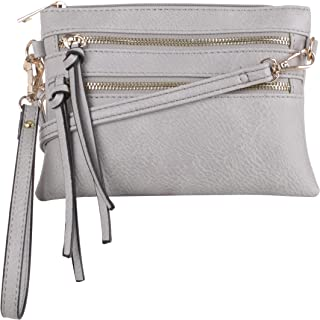 DELUXITY womens HB3024 Lily Jane Everyday Multi-pocket Cross Body Bag With Removable Wristlet and Strap