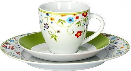 Preisvergleich für Van Well Kaffeeservice 18-tlg. für 6 Personen Serie Vario Porzellan - Farbe wählbar, Farbe:flowers