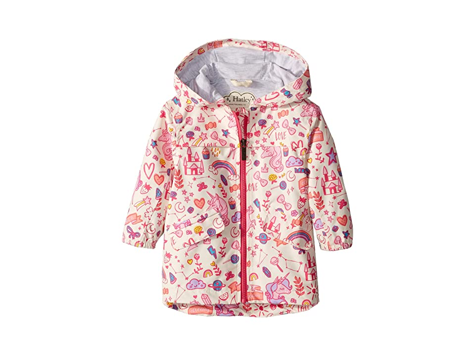 Hatley Kids Unicorn Doodles Microfiber Rain Jacket (Toddler/Little Kids/Big Kids) (White) Girl