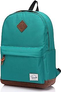 Vaschy Unisex Classic Lightweight Water-Resistant Campus School Rucksack Travel Backpack Bluish-Green Fits 15.6Inch Laptop