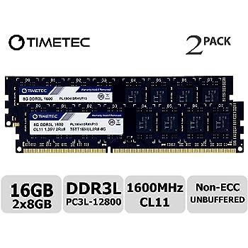 Timetec Hynix IC DDR3 PC3-12800 1600 MHz Non ECC Unbuffered 1.35V/1.5V Dual Rank 240 Pin UDIMM Desktop PC Computer Memory Ram Module Upgrade (16GB(8GBx2))