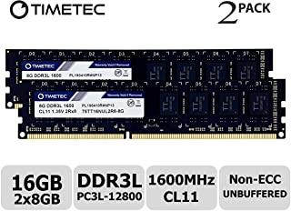 Timetec Hynix IC 16GB Kit (2x8GB) DDR3L 1600MHz PC3-12800 Unbuffered Non-ECC 1.35V CL11 2Rx8 Dual Rank 240 Pin UDIMM PC Sobremesa Memoria Principal Module Upgrade (16GB Kit (2x8GB))