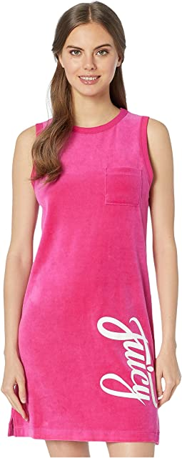 Juicy Script Velour Logo Track Sleeveless Dress