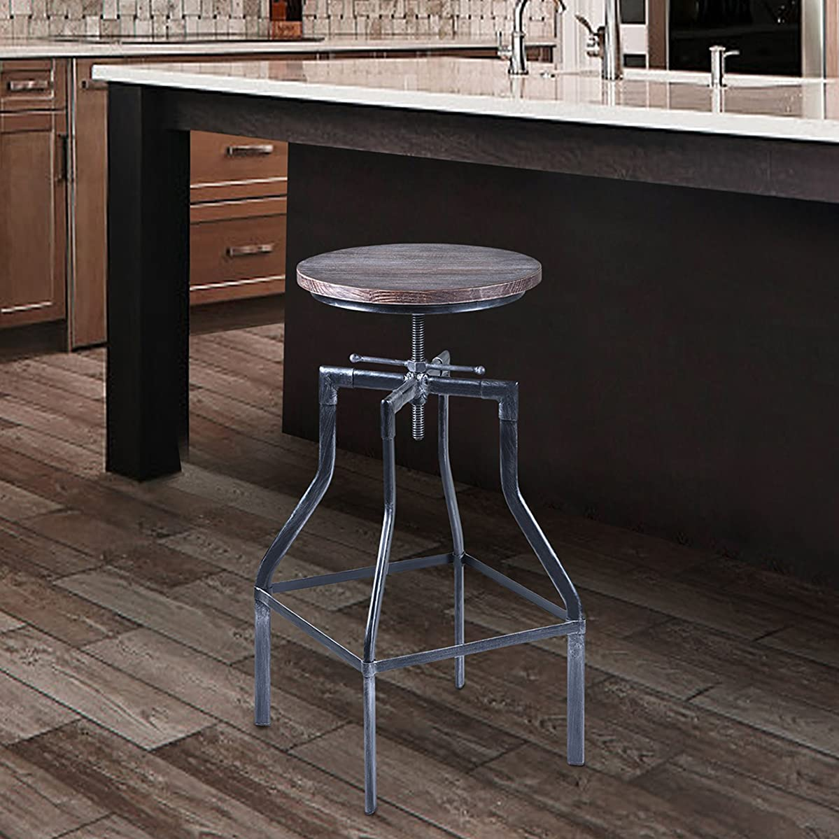 Armen Living LCCOSTSBPI Concord Adjustable Barstool in Pine Wood and Industrial Grey Metal Finish