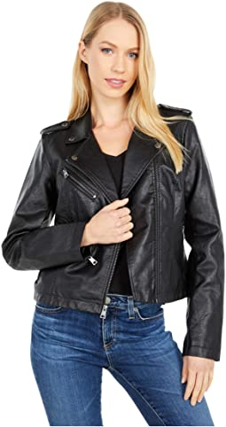 Classic Asymmetrical Faux Leather Motorcycle Jacket