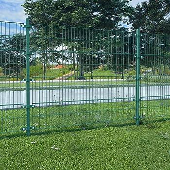 UnfadeMemory Valla Jardin Metalica con Postes,Panel de Valla para Jardin,Decoracion Jardin,Hierro Recubrimiento Polvo (6x1,6m, Verde): Amazon.es: Hogar