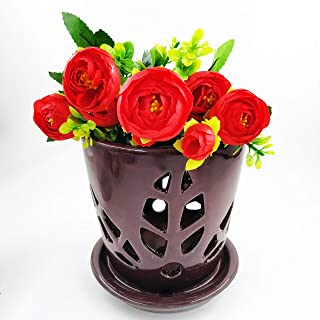 Better-way Hollow Out Orchid Cache Pot, Orchid Planter, Ceramic Flower Pots Indoor Succulent Cactus Containers Decorative Centerpiece Vases (5.5 Inch, Brown, Leaves)