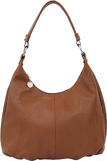 AMBRA Moda Damen Handtasche Echtleder Beutel Schultertasche Hobo Bags Shopper DIN-A4 GL001