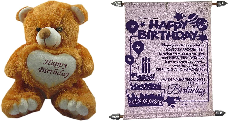 Handmade Teddy Bear Soft Toy Happy Birthday Message Card for Sister  Bredher Women Kids  36cm .