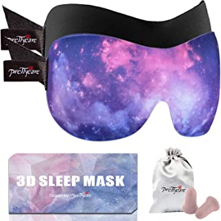 PrettyCare 3D Sleep Mask with 2 Pack, Eye Mask for Sleeping - Contoured Eyemask Blackout - Blindfold Airplane with Ear Plugs,Travel Pouch