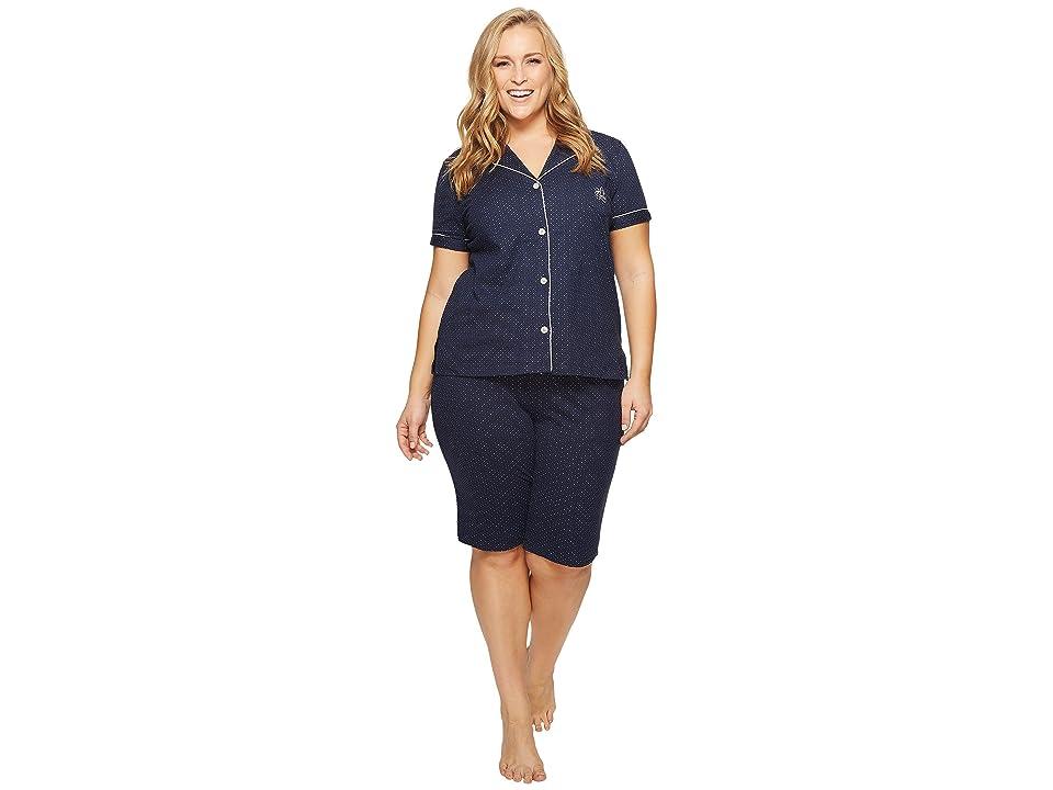 LAUREN Ralph Lauren Plus Size Short Sleeve Notch Collar Bermuda Shorts PJ Set (Windsor Navy/White Dot) Women