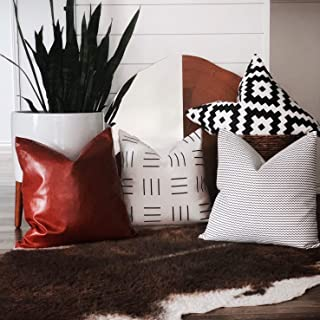 Ember + Rose Set of 4 Boho Throw Pillow Covers – Modern Decorative Boho Fabric Cases for Bed, Sofa, Couch Home Décor Pillows - Mudcloth Inspired Black and White and Vegan Leather Cushion Cover 18x18