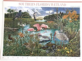 Southern Florida Wetland (Nature of America) Full Sheet of 10 x 39-Cent Postage Stamps, USA 2006, Scott 4099