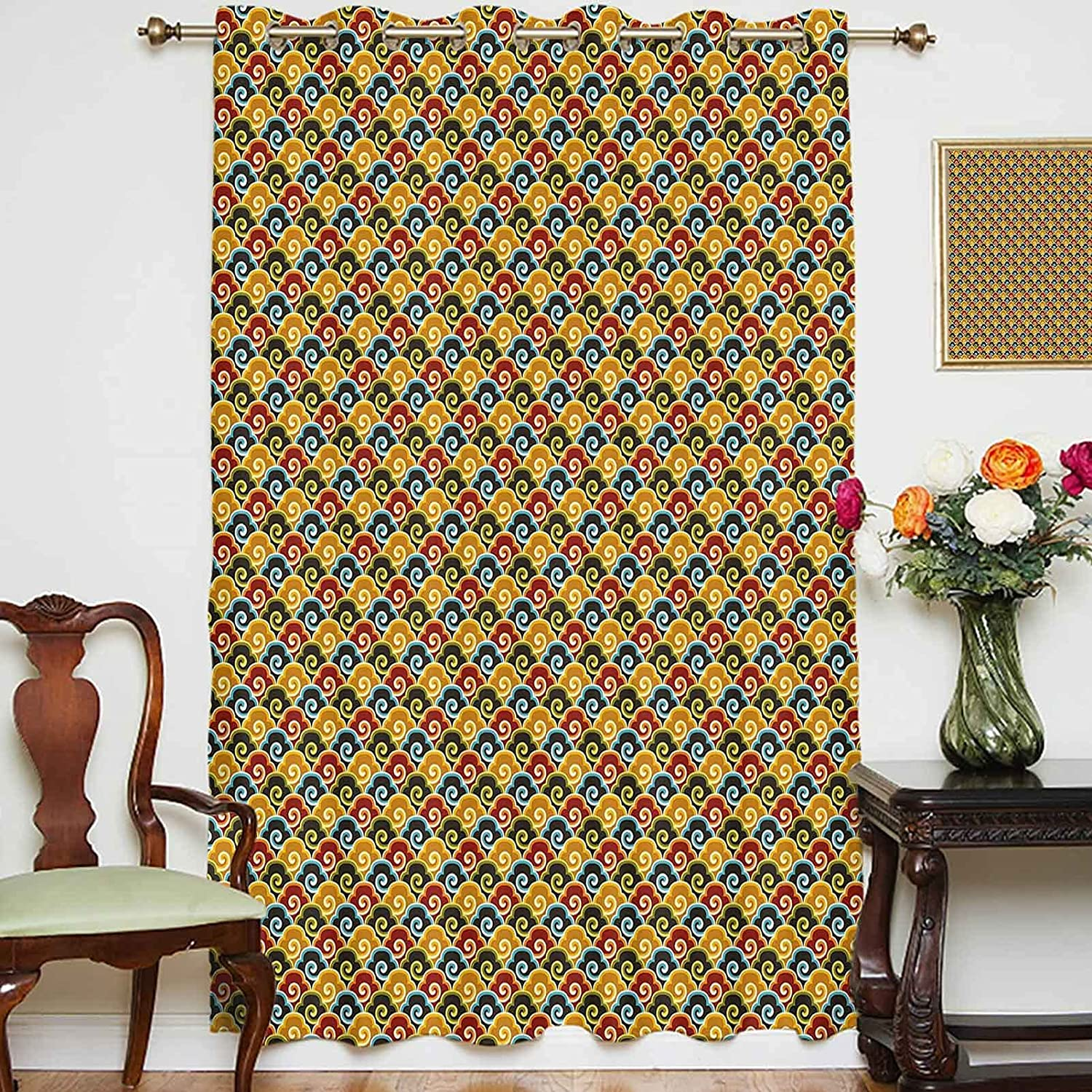 Blackout Cheap mail order sales Shading Curtains Colorful Cloud Swirl with Wind Pattern Max 82% OFF