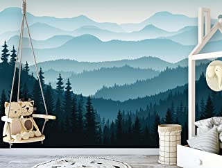 Removable Peel 'n Stick Wallpaper, Self-Adhesive Wall Mural, 3D Mountain Mural Wallpaper, Nursery • Ombre Blue Mountain Pine Forest Trees (Sample 6