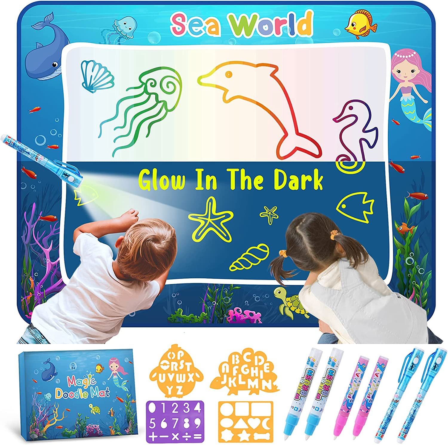 Toys for Nippon regular agency Kids Water Doodle Mat - The Toddler Boys in Glow Dark Excellent
