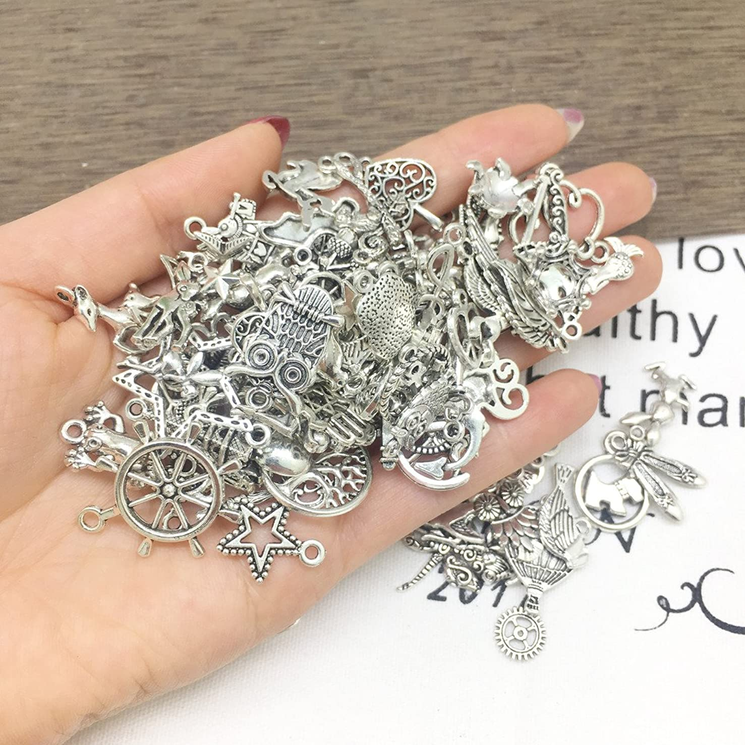 Wholesale 100 PCS Mixed Antique Silver Pewter Smooth Metal Charms Pendants DIY for Necklace Bracelet Dangle Jewelry Making and Crafting