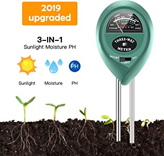 Soil Moisture Sunlight Ph Test Meter,Soil Tester Meter, 3-in-1 Test Kit for Moisture, Light & pH, for Home and Garden, Lawn, Farm, Plants, Herbs & Gardening Tools, Indoor/Outdoors Plant Care