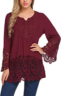 SoTeer Womens Casual V Neck Loose Top Flare Sleeve Lace Splice Blouse Shirt Tops S-XXL
