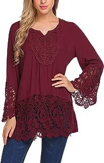 SoTeer Women's Casual Tops Lace Splice Flare Sleeve Flowy Loose Peplum Boho Blouse T-Shirt Tops S-XXL