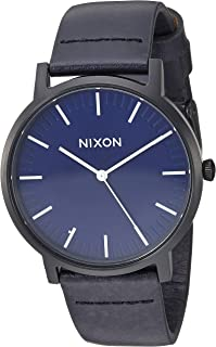 (All Black/Dark Blue) - Nixon Porter Leather A1058. 100m Water Resistant Men's Watch (20-18mm Leather Band and 40mm Watch Face)