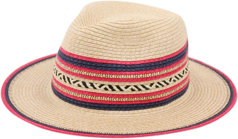 ANGELA & WILLIAM Cute Straw Fedora Hat w/Chevron & Stripe Accent – Adjustable Inner Drawstring