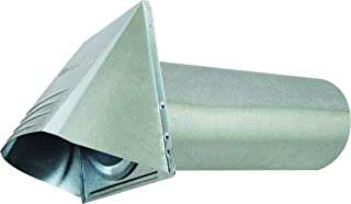 "Deflecto Dryer Vent, Wide Mouth Galvanized Vent Hood with Pipe, Silver, 4"" (GVH4NR)"