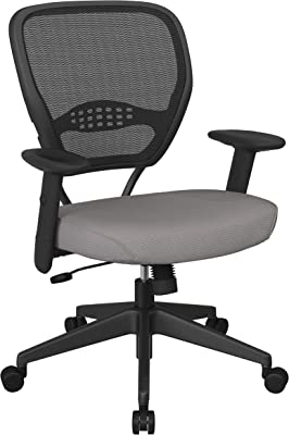 SPACE Seating 55 Series Professional Dark Air Grid Back Adjustable Manager's Chair with Lumbar Support and Padded Fun Colors Steel Gray Fabric Seat