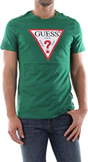 GUESS Men's Crew Neck Small Sleeve Original Logo T-Shirt, Green (Field Green), Medium