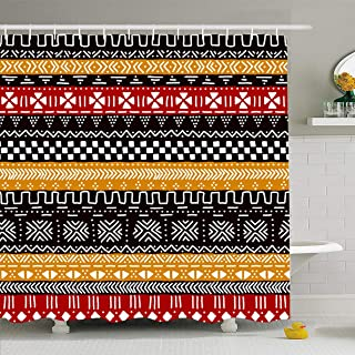 Ahawoso Shower Curtain 72x78 Inches Color Brown Mudcloth Black Red Yellow White African Tribal Abstract Geo Mud Pattern Simple Waterproof Polyester Fabric Bathroom Curtains Set with Hooks