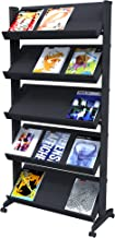 PaperFlow Single Sided Mobile Literature Display, 5 Shelves, 33.67x15.17x66 Inches, Black (255N.01)