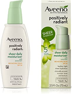 Aveeno Positively Radiant Sheer Moisturizer Spf#30 2.5 Ounce (73ml) (2 Pack)