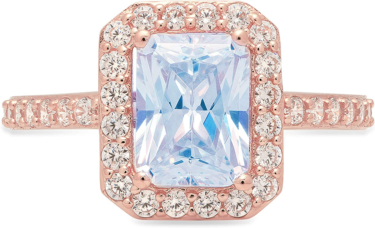 2.01ct Emerald Cut Solitaire with Accent Halo Natural Swiss Blue Topaz Gemstone Ideal VVS1 Engagement Promise Statement Anniversary Bridal Wedding ring 14k Pink Rose Gold