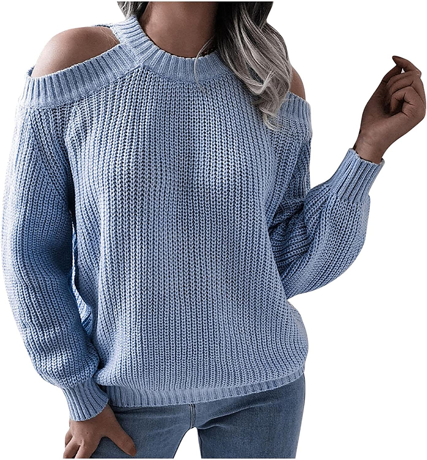 Sweaters for Women Sexy Halter Off-Shoulder Blouse Tops Long-Sleeved Loose T-Shirts Fashion Knit Sweater