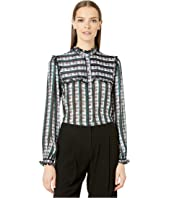 GREY Jason Wu - Striped Plaid Print Ruffle Blouse