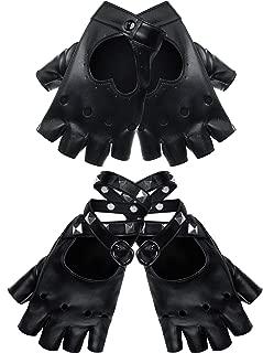 FingerlessGlovesPULeatherFingerlessGlovesPunkHalfFingerLeatherGlove (Style F, Black)