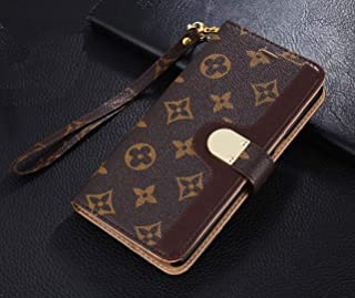 Luxury Elegant Bifold Magnetic Leather Clip Pocket Women Men Girls Boys Flip Wallet case for Apple iPhone 7 Plus and iPhone 8 Plus (Big Floral Monogram) (Brown1)