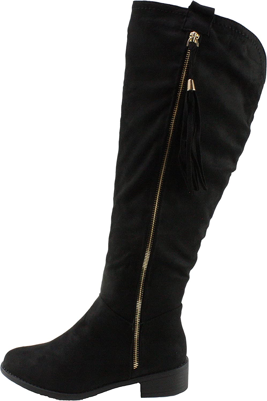Top Moda Women's Greta-1 Faux Suede Low Heel Knee High Boots